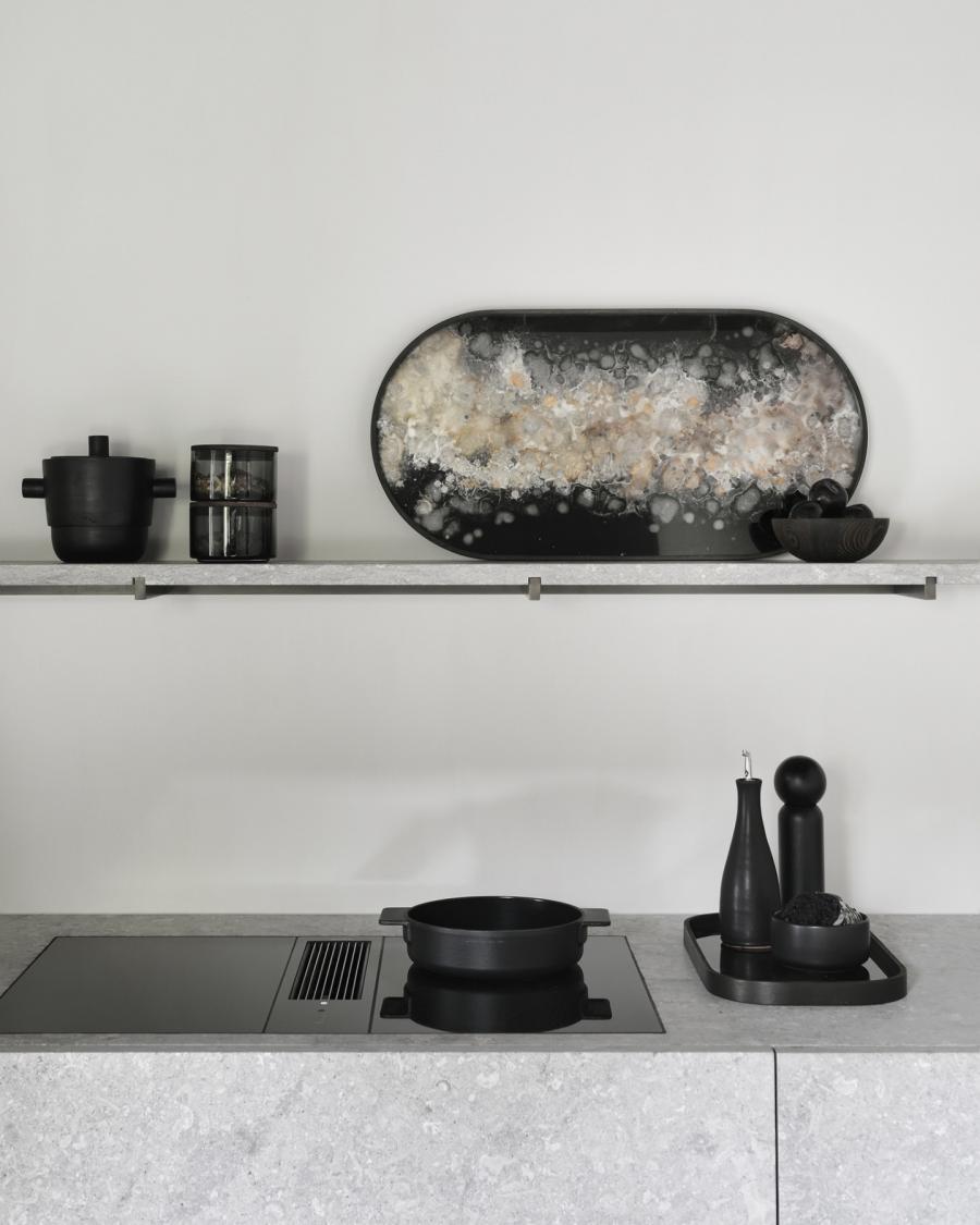 Black Organic glazen dienblad - M