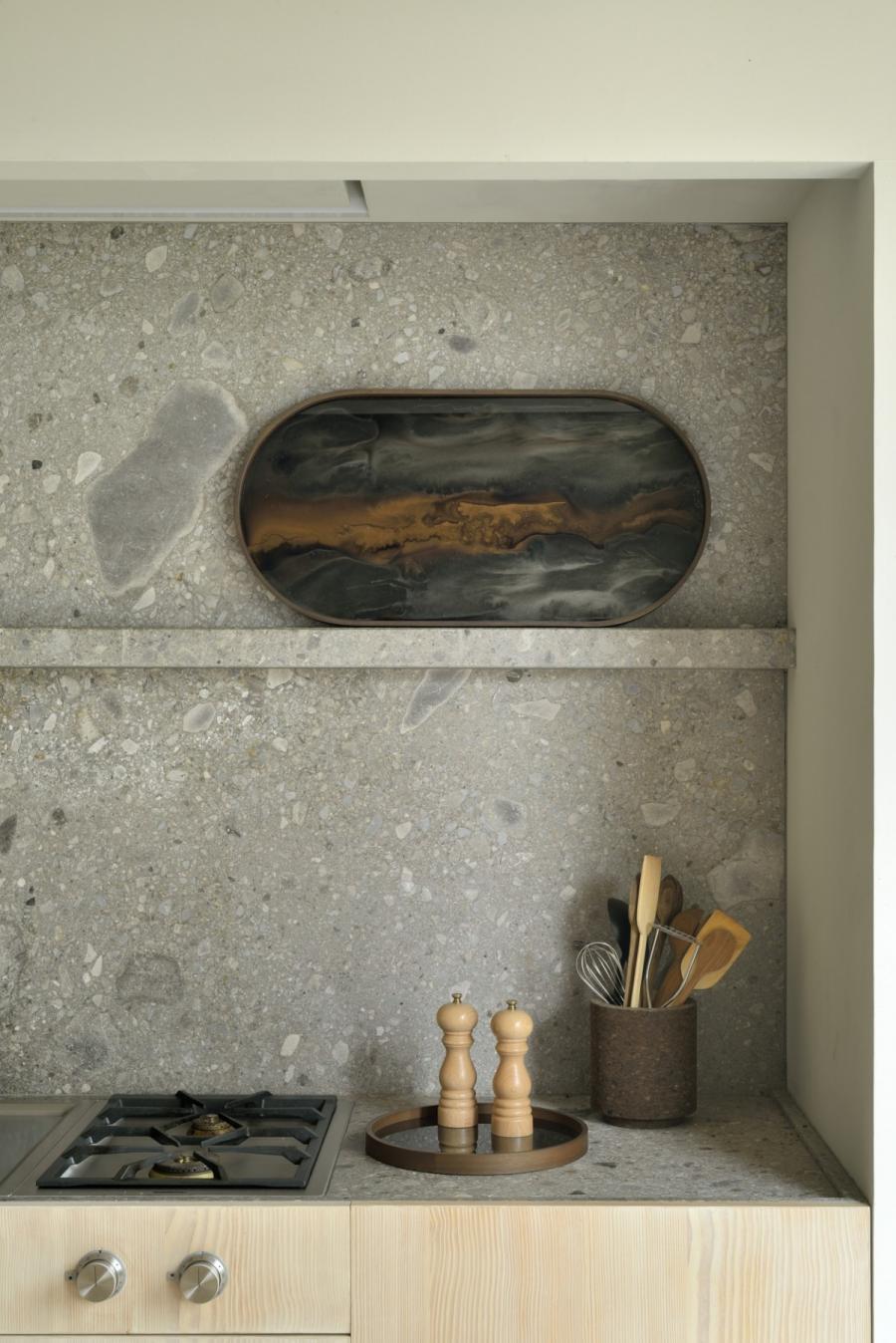 Bronze Organic glazen dienblad - M