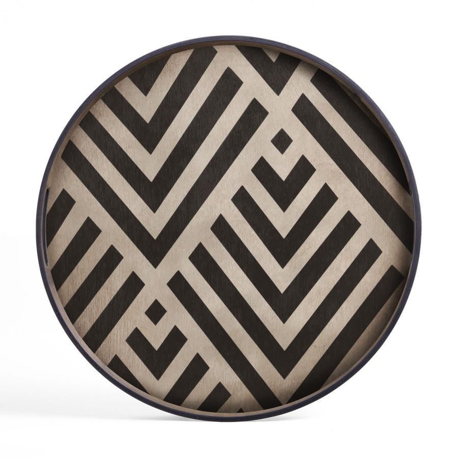Ethnicraft - Ovalen dienbladen - Graphite Organic glazen dienblad - M