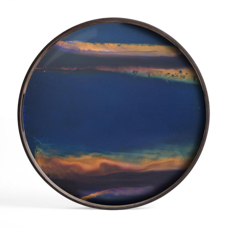 Indigo Organic glazen dienblad - S