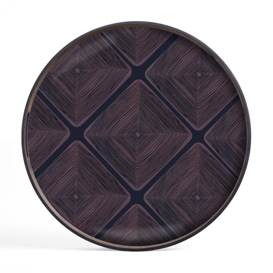 Midnight Linear Squares glazen dienblad - S