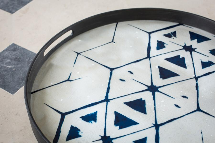 Tribal Hexagon glazen dienblad - S