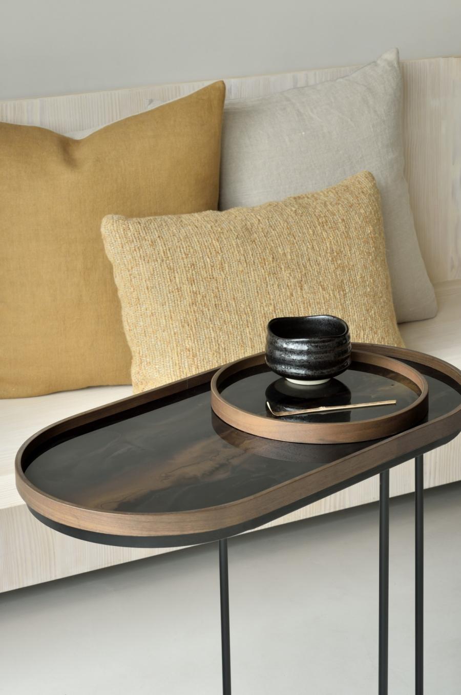 Ethnicraft - Ovalen dienbladen - Bronze Organic glazen dienblad - M