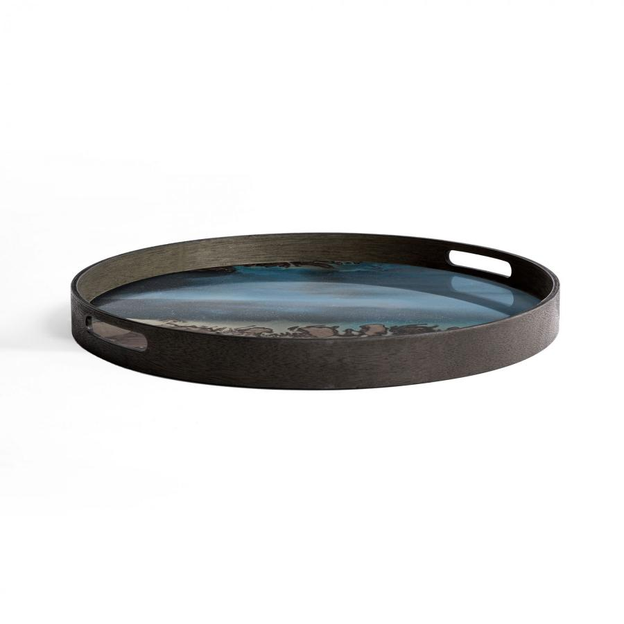 Ethnicraft - Ronde dienbladen - Slate Organic glazen dienblad - S